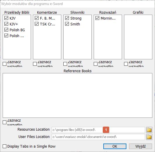 Okno modułów we-Sword