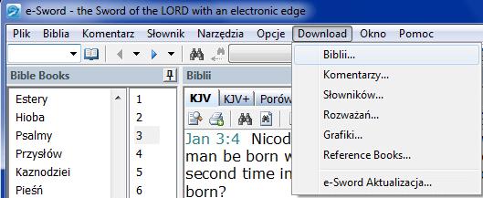 Pobieranie tłumaczeń e-Sword