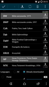 MyBible - lista przekładów biblijnych