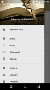 Pismo Święte PL - Widok menu
