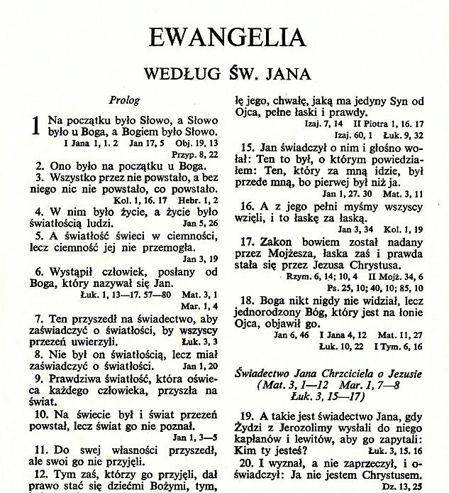 Biblia Warszawska - Ewangelia wgśw.Jana