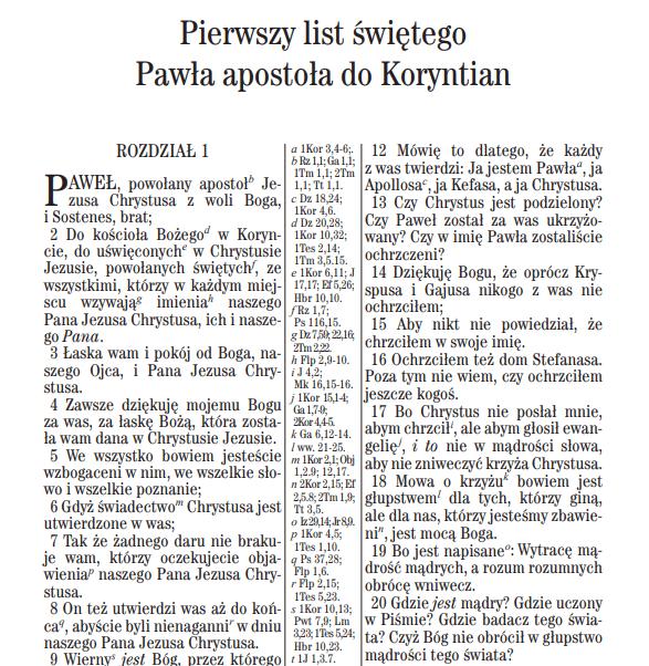 Uwspółcześniona Biblia Gdańska - Pierwszy list świętego Pawła doKoryntian